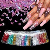 Nail forma di arte della decorazione olografica farfalla Stella fiocchi Nail art glitter Micro Laser 3D Silver Gold Paillettes Polish Manicure