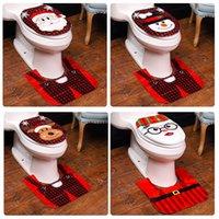 Weihnachts Toiletten-Abdeckung Teppich Badezimmer Mat Set-Dekor-Sankt-Schneemann-Weihnachtstoilettensitzabdeckungen Hauptdekoration HHA1534