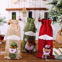 Творческий мультфильм Рождественский подарок льняные бутылки вина Обложка сумки Holder Новый год 2020 Новогодние украшения Для дома партия стол украшение