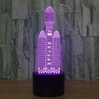 المركبة الفضائية 3d الوهم LED مصباح ضوء الليل 7 RGB أضواء DC 5 فولت USB بدعم من البطارية 5th دروبشيبينغ مربع التجزئة