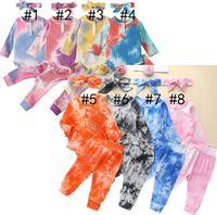 Tie-красители дизайнеры детская одежда детский с длинным рукавом свитера толстовки с длинным рукавом шаблон брюки повязки три части набор осень детей rompers new d82505
