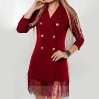 Herbst eleganter Quaste Blazer Kleider Frauen-feste dünne lange Hülsen zweireihiges Kleid weiblich 2020 Fashion Büro-Dame Kleiden