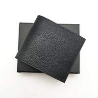 Moda para hombre corto clásico de carteras de cuero genuino hombres adelgazan carpeta con la ranura de tarjeta Monedero plegable carteras pequeñas con la caja