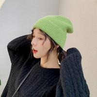 بيني 2021 سميكة أنجورا الشعر الحياكة الحياكة القبعات الرجال النساء أزياء الخريف الشتاء نقية اللون عارضة الحرارية قبعة عشاق قبعة