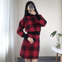 Kol Kısa Etek Bayan 2PCS Triko Elbise Dişiler Giyim Ekose Baskı Tasarımcı 2PCS Elbiseler Moda Vintage Long Womens