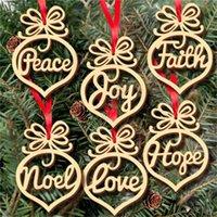 Madera bombilla de Navidad Decoración hueco colgante del copo de nieve del caballo de oscilación Estrellas Ángel del amor del árbol árbol de Navidad 6pcs / lot D83105