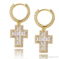 Hip Hop Square CZ Stone Paved Bling Ice Out Cross Earring for Men Women CZ Earrings Male Fashion Jewelry