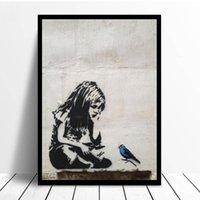 Peintures Banksy Graffiti Street Art Fille avec Blue Oiseau Posters et Prints Nordic Toile Imprimer Images murales à la maison Décoration
