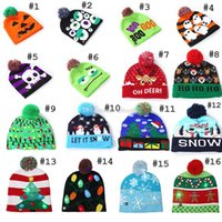 الدافئة 16styles بقيادة عيد الميلاد هالوين محبوك القبعات الاطفال الرضع الأمهات الشتاء بيني الكروشيه قبعات الديكور حزب مهرجان القرع الثلج
