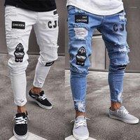Jeans Jungen gestickte Muster Bleistift Hosen-Mode-Männer dünne Jeans Rip dünner Sitz Stretch Denim Distress ausgefranste Biker
