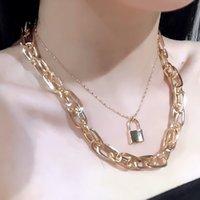 Collana Multi Layered lock femmina Vintage moda anello corto clavicola catena Chunky collana di catene per il regalo del partito delle donne
