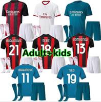 Взрослые мальчики AC 2020 2021 Milan Ibrahimovic футбольные трикотажки набор 20 21 Pietk Paquea Theo Rebic Футбольные рубашки Мужчины детские наборы