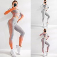 Mulheres Seamless Knit Yoga Workout Set Long Sleeve Top Curto Thumb Buraco cintura alta Sports BuLift Leggings Gym Fitness Treino