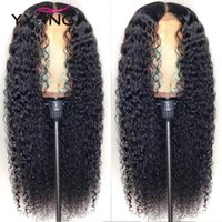 YYong 1x4 & 13x6 T Part Peruvian Lace Front Human Hair Wig Kinky Curly HD Transparent Lace Wigs Remy Deep Part Wigs 120% 32 inch