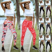 2020 Yeni Kadın Noel Baskılı Karikatür Tozluklar Kız Sıkı sıska Elastik Tozluklar Spor Noel Pantolon Spor Yoga Pantolon Pantolon 7263