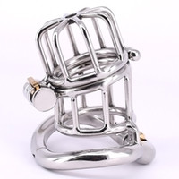 2020 Hinged Type Male Cock Cage Stainless Steel Arc Penis ring Metal Chastity Devices with Two Stealth Locks Sex Products for Men