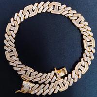 Hip Hop collana di modo Mens gioielli dal design di lusso catena fuori ghiacciato Cuban link Rapper del diamante di Bling Tennis Bracelet Oro Argento Accessori
