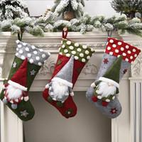 Рождество носки мешок подарка для детей носки конфеты Санта-Клаус Эльф No-лицо куклы подарков носки Рождество Подвеска Крытый Поставки 19INCH LSK1050
