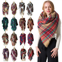 Colorfu señoras bufanda térmicas Fall Winter imitación de la cachemira de doble cara impresa tela escocesa de la raya de la Plaza de la bufanda de la borla clásico mantón VT1684