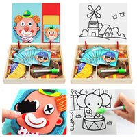Puzzle magnético DIY Juguetes para bebés Vehículo infantil Creativo inteligencia de madera cognitiva Juguete de dibujos animados Animales Figura Tablero 3D Baby Puzzle Educatio XOSH