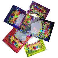 Dank Gummies Mylar Bag BAG 500mg Plastica Zip Block Borse riutilizzabili Edibles Retail Packaging Worms Ores Cubi Borsa gommosa per il fiore di tabacco a secco erba