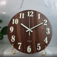 Corredor luminoso Wall Clock Ticking Escritório Non Home Decor In Dark Wooden Brilho