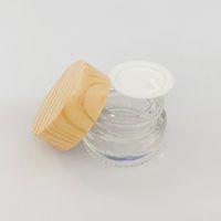 나무 곡물 플라스틱 뚜껑 유리 용기 두꺼운 오일 크림 유리 상자 5ml 화장품 항아리 vape 허브 크림 저장 오일 홀더
