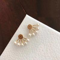 Con la marca de la marca de la moda tiene sellos Pendientes de diseñador de perlas para Lady Mujeres Partido Amantes de la boda Regalo Compromiso Joyería de Lujo para Bride HB12