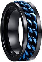 8 millimetri di tungsteno anello di carburo di tungsteno nero acciaio Uomo Anello con Blue ruotabile catena intarsiato Comfort Fit Size 6-12