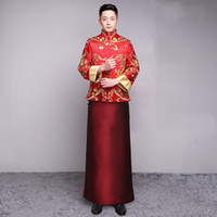 Homens cheongsam top 2020 masculino noivo casamento qipao casado han fu vermelho bordado estilo chinês estilo torrada roupas vestido jaqueta tang terno