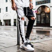 High Street Diz Delikler Erkek Biker Kalem Pantolon Ripped Siyah Beyaz Patchwork tousers Mens Jeans