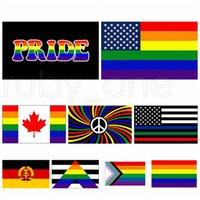 3x5fts فيلادلفيا Phily أعلام مستقيم حليف التقدم LGBT قوس قزح المثليين العلم الأميركي راية 90x150cm 9styles RRA3462