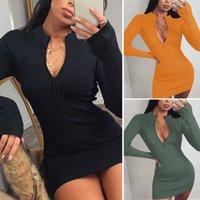 Damen Kleid Frauen Zip gestrickte Pullover mit Stehkragen dünnen Verein Langarm Rib Minikleid Herbst Sexy Kleid