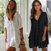 Kadın Mayo 2021 Pamuk V Yaka Plaj Kış Örtüsü Ups Kadın Düğme Bikini Kapak-Ups Cepler Beyaz Elbise Tunik Gevşek Stil