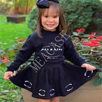 Çocuklar Eşofman INS Harf Baskı Uzun Kollu Triko Kısa Etek İki adet Kıyafetler 2020 Sonbahar Kış Yeni Kız Elbise Takım Elbise D81013 Tops