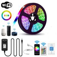 WIFI-LED-Streifen-Licht RGB wasserdicht IP65 SMD 5050 3528 DC 12V Gadget Google Home Alexa Ribbon Wifi Contoller Adapterstecker 5m Ledstrip Lights