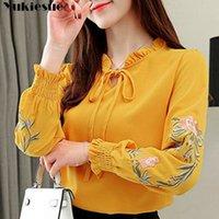 manera de las mujeres y las blusas de la manga del verano 2020 ong 3XL 4XL más el tamaño de las mujeres camisas de flores bordado blusa de la gasa de la camisa