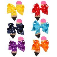 4,5 pouces Polka Dots Crayon Bonds à cheveux Cute Baby Ruban Bows Boutique Boutique Coiffure Avec Cheveux Clips Enfants Accessoires A3949