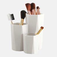 3 gitter kosmetisk sminkborste Förvaringslåda Makeup Nagellack Kosmetisk hållare Make Up Verktyg Pen Hållare Rack Table Organizer