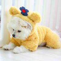 Sevimli Pet Giyim Çiçek Tasarımcı Köpek Coat Pamuk Kedi Giyim Artı Kadife yastıklı Köpek Giyim Kış Köpek Giyim