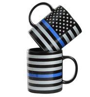 350 ㎖ 블루 라인 USA 경찰 머그컵 블루 라인 머그컵 세라믹 커피 우유 컵 트럼프 커피 텀블러 손잡이 세라믹 컵 GGA3667-3