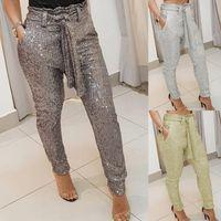 England Style Women Long Pants For Streetwear Bandage Design Pockets Decor Mid Waist Solid Color Slim Hips Pencil Pants