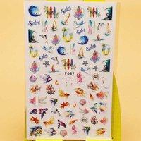 Autocollants décalques 3D autocollant à ongles voilier voilier hippocampe poisson décorations art couleurs manucure accessoires ongles décoraciones