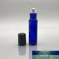 الكوبالت الأزرق 10ML 1 / 3OZ سميكة الزجاج لفة على زجاجة فارغة من الضروري النفط الروائح زجاجة عطر مع الرول الكرة المعدنية والأسود اغطية