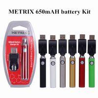 510 Konu Kartuş için Metrix Onceden Blister Pil 650mAh Ön ısıtma Değişken Voltaj Piller VV USB Şarj Vape Kalem Seti