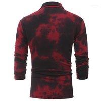 Street Style Camisetas para hombre Bandhnu diseñador para hombre de las camisetas de la solapa de cuello rojo manga larga para hombre camisetas Delgado