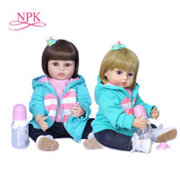 NPK 55cm short hair girls gift soft full body silicone doll ...