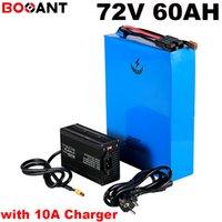 Sanyo 18650 hücreye + 10A Charger için en iyi lityum pil 20S 72V 60AH elektrikli bisiklet güçlü 7000W