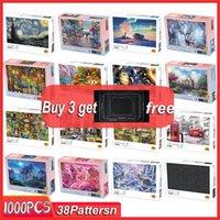 MINI Jigsaw Puzzle 1000 pièces en bois jouets puzzle de montage photo paysage pour les adultes pour enfants enfants Jeux éducatifs Toy C0927