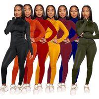 women s clothing 2 piece set Fashion Women Tracksuit Sports suit Leisure Long Pants Outfits Zipper Top Trousers Jogging Suit DHL